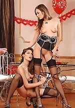 Two lesbian babes in stockings